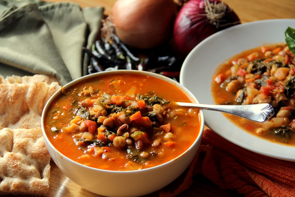 Spiced Red Lentil, Tomato and Kale Soup |